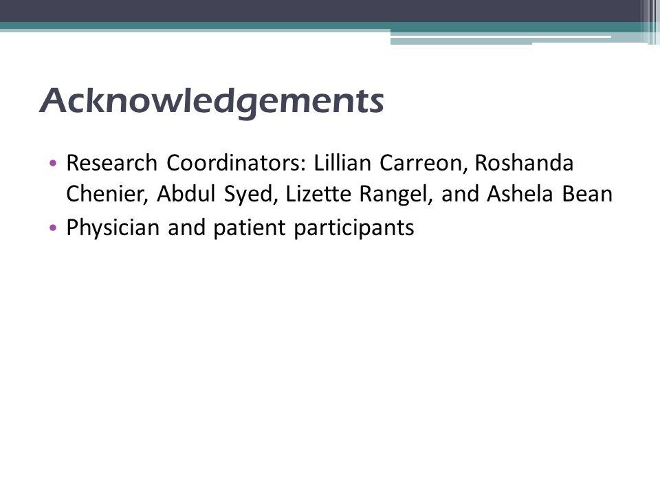 Acknowledgements Research Coordinators: Lillian Carreon, Roshanda Chenier, Abdul Syed, Lizette Rangel, and Ashela Bean Physician and patient participa