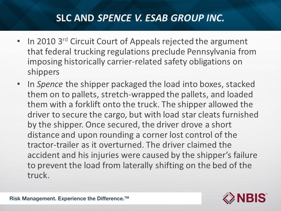 SLC AND SPENCE V. ESAB GROUP INC.