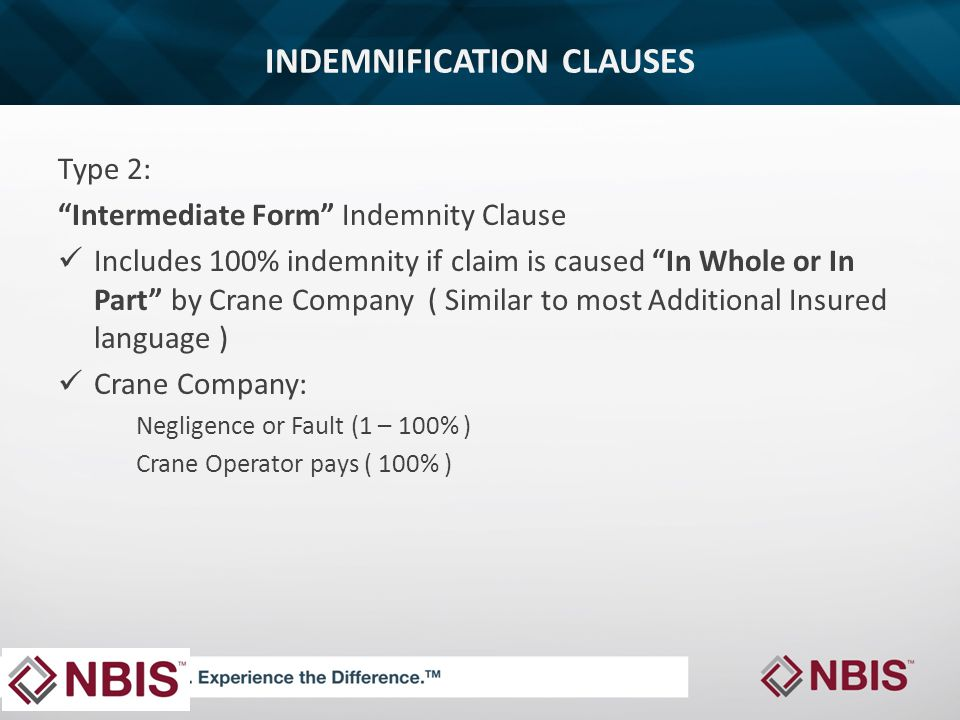 INDEMNIFICATION CLAUSES Type 2: Intermediate Form Indemnity Clause Includes 100% indemnity if claim is caused In Whole or In Part by Crane Company ( Similar to most Additional Insured language ) Crane Company: Negligence or Fault (1 – 100% ) Crane Operator pays ( 100% )