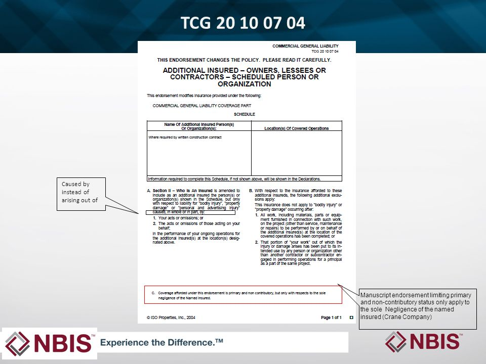 TCG 20 10 07 04 Manuscript endorsement limiting primary and non-contributory status only apply to the sole Negligence of the named insured (Crane Company) Caused by instead of arising out of