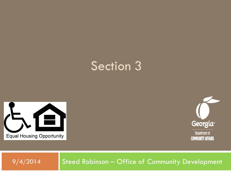 Section 3 Steed Robinson – Office of Community Development  9/4/2014