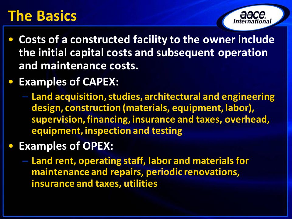 The Basics Costs of a constructed facility to the owner include the initial capital costs and subsequent operation and maintenance costs.