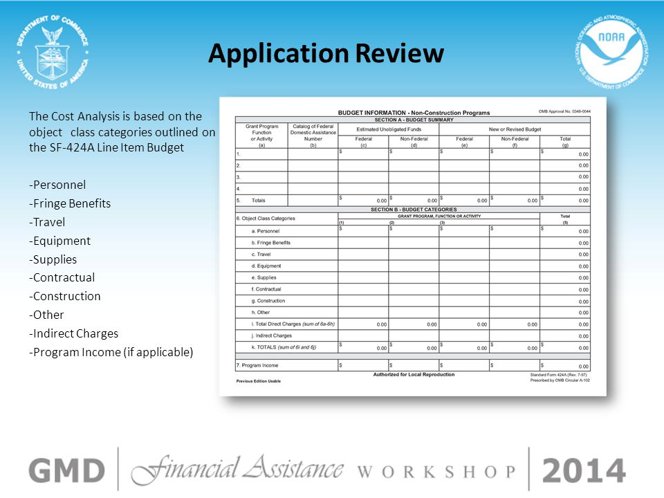 Application Review The Cost Analysis is based on the object class categories outlined on the SF-424A Line Item Budget -Personnel -Fringe Benefits -Travel -Equipment -Supplies -Contractual -Construction -Other -Indirect Charges -Program Income (if applicable)