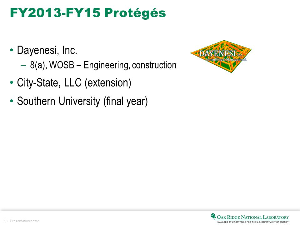 13 Presentation name FY2013-FY15 Protégés Dayenesi, Inc. – 8(a), WOSB – Engineering, construction City-State, LLC (extension) Southern University (fin