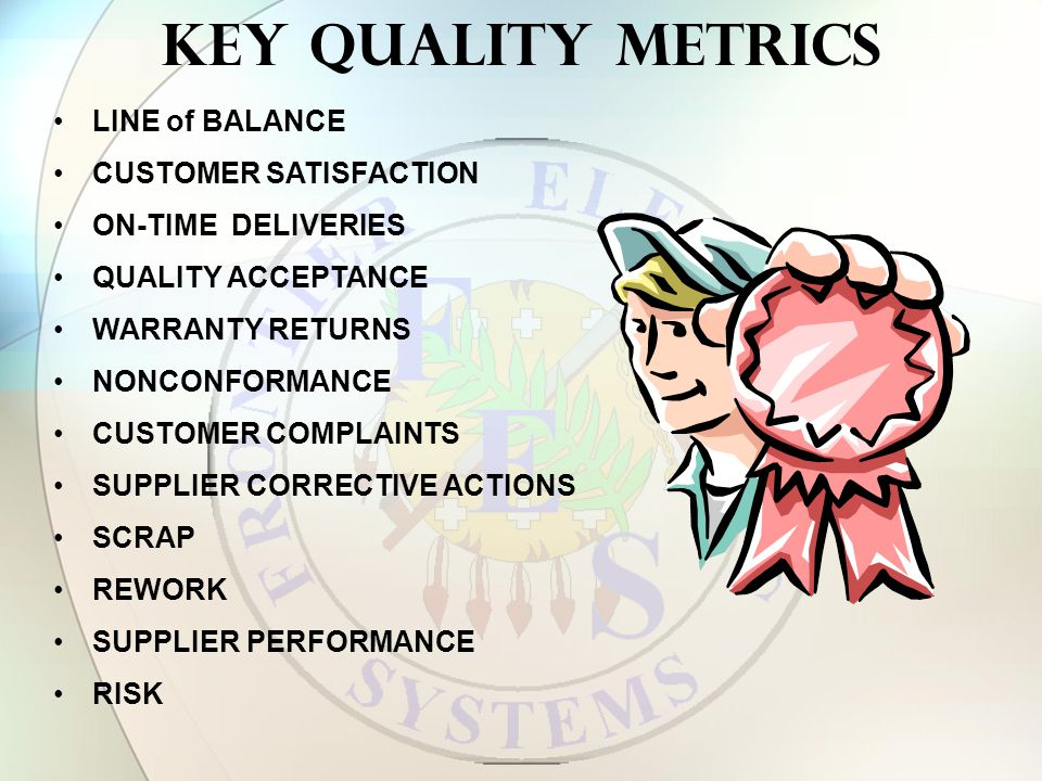 Key Quality Metrics LINE of BALANCE CUSTOMER SATISFACTION ON-TIME DELIVERIES QUALITY ACCEPTANCE WARRANTY RETURNS NONCONFORMANCE CUSTOMER COMPLAINTS SUPPLIER CORRECTIVE ACTIONS SCRAP REWORK SUPPLIER PERFORMANCE RISK