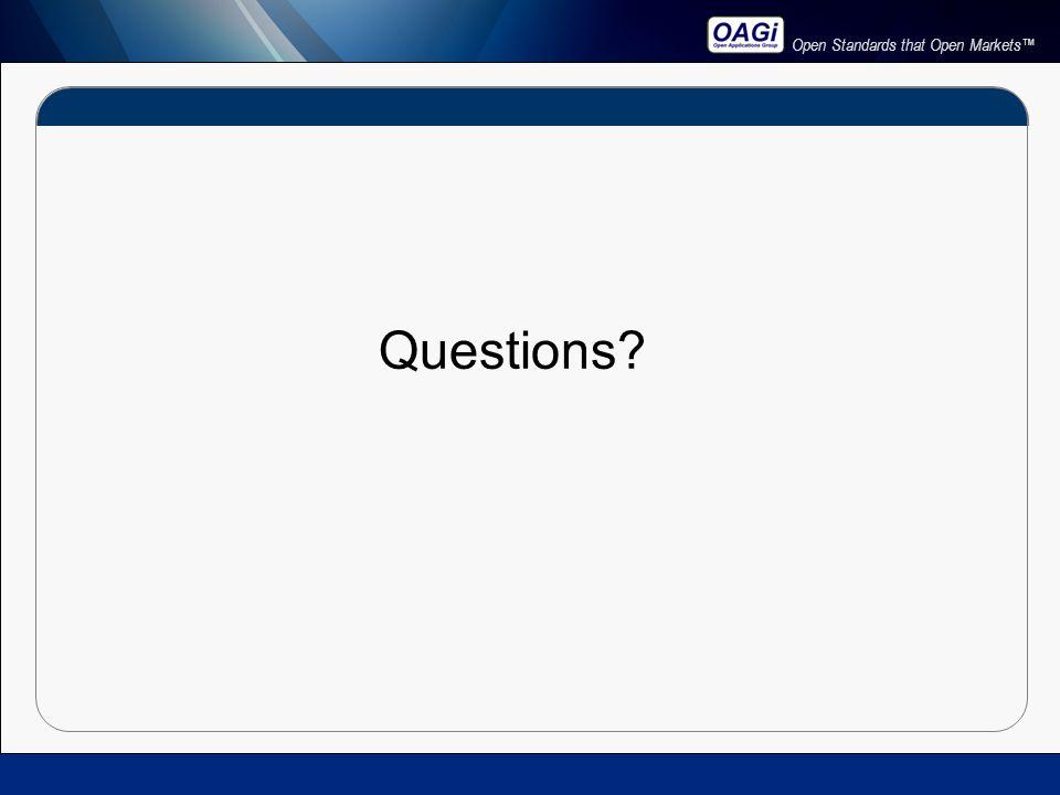 Open Standards that Open Markets™ Questions?