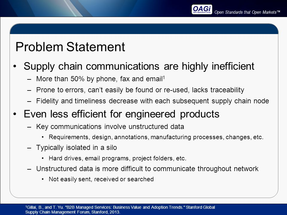 Open Standards that Open Markets™ Problem Statement Supply chain communications are highly inefficient –More than 50% by phone, fax and email 1 –Prone to errors, can't easily be found or re-used, lacks traceability –Fidelity and timeliness decrease with each subsequent supply chain node Even less efficient for engineered products –Key communications involve unstructured data Requirements, design, annotations, manufacturing processes, changes, etc.