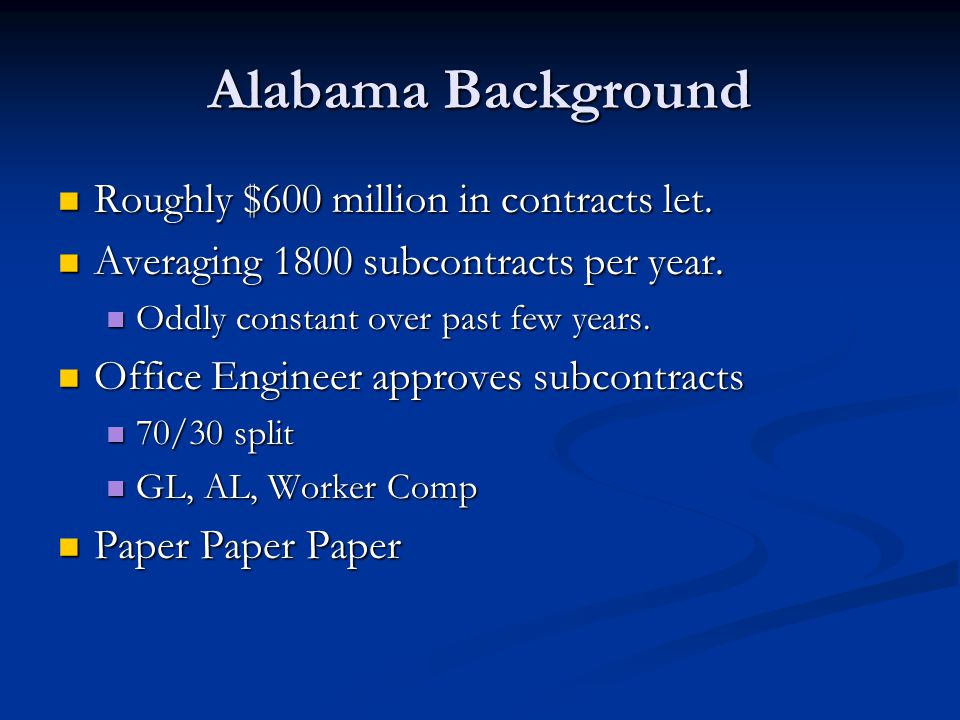 Alabama Background Roughly $600 million in contracts let.