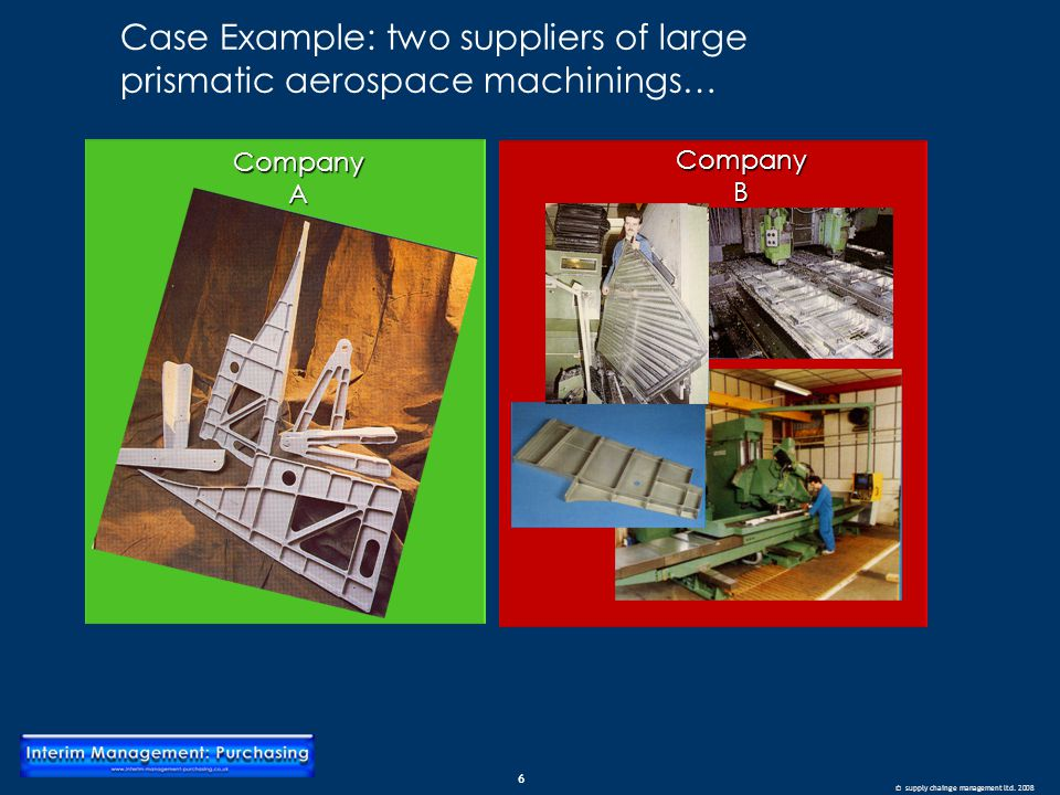 6 © supply chainge management ltd. 2008 Case Example: two suppliers of large prismatic aerospace machinings… CompanyACompanyB