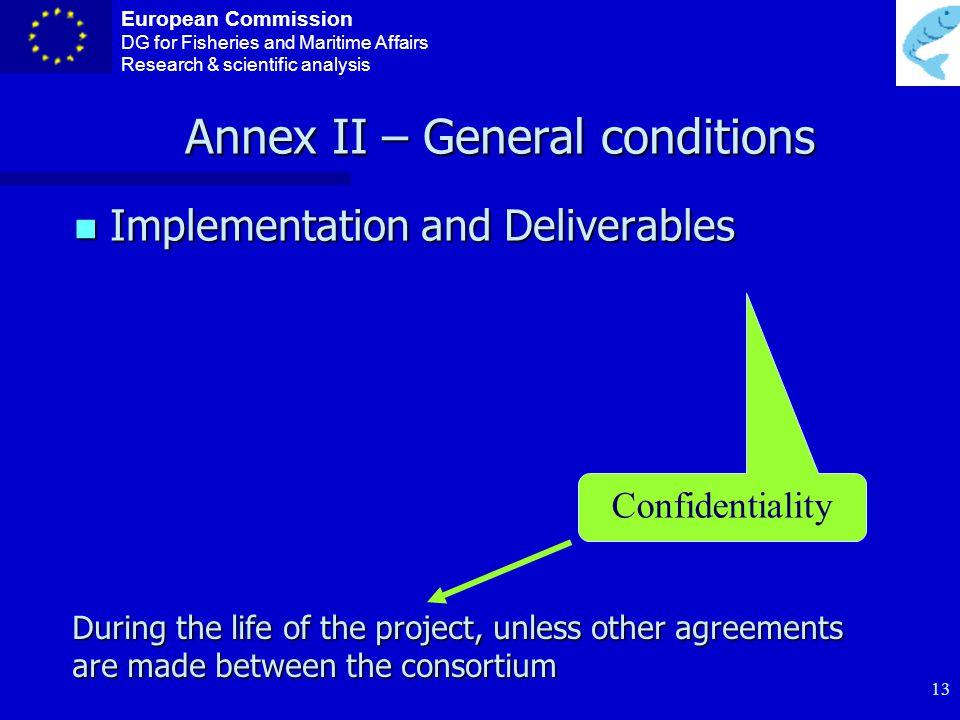 European Commission DG for Fisheries and Maritime Affairs Research & scientific analysis 12 ANNEX II – General conditions Subcontractors Tasks clearly identified in Annex I Tasks clearly identified in Annex I Must be awarded to the bid offering best value for money (price/quality) under conditions of transparency and equal treatment Must be awarded to the bid offering best value for money (price/quality) under conditions of transparency and equal treatment If not in Annex I : can only be minor services, non-core elements If not in Annex I : can only be minor services, non-core elements The subcontractor must be a legal entity The subcontractor must be a legal entity A subcontract can only cover a limited part of the project & must be justified A subcontract can only cover a limited part of the project & must be justified The contractor maintains full responsibility for carrying out the project, and retains the intellectual property generated (if any).