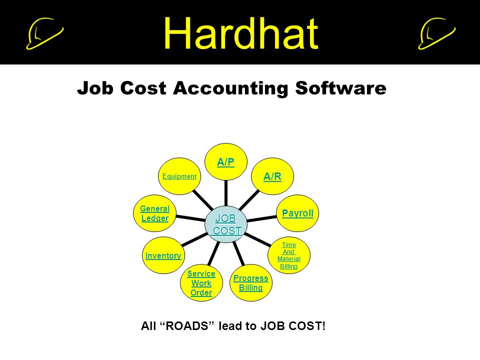 Hardhat Job Cost Accounting Software JOB COST COST A/PA/RPayroll Time And Material Billing Progress Billing Service Work Order Inventory General Ledger Equipment All ROADS lead to JOB COST!