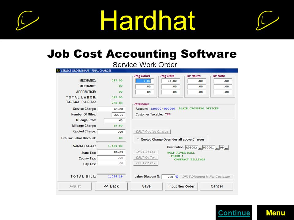 Hardhat Job Cost Accounting Software Service Work Order ContinueMenu