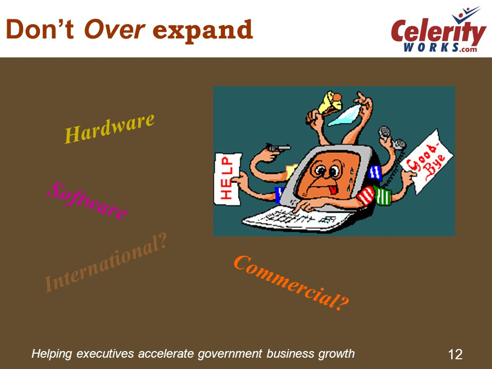 Helping executives accelerate government business growth 12 Don't Over expand International.