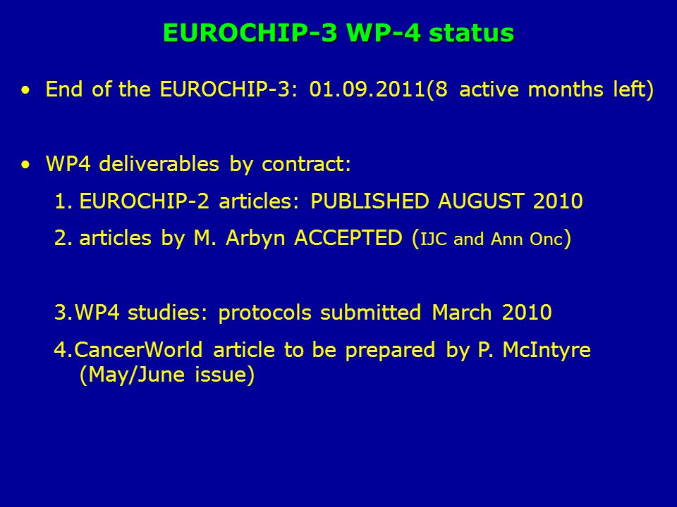 EUROCHIP-3 WP-4 status End of the EUROCHIP-3: 01.09.2011(8 active months left) WP4 deliverables by contract: 1.EUROCHIP-2 articles: PUBLISHED AUGUST 2010 2.articles by M.