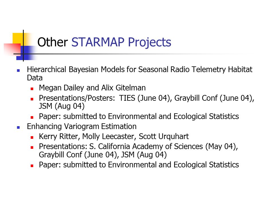 Other STARMAP Projects Hierarchical Bayesian Models for Seasonal Radio Telemetry Habitat Data Megan Dailey and Alix Gitelman Presentations/Posters: TI