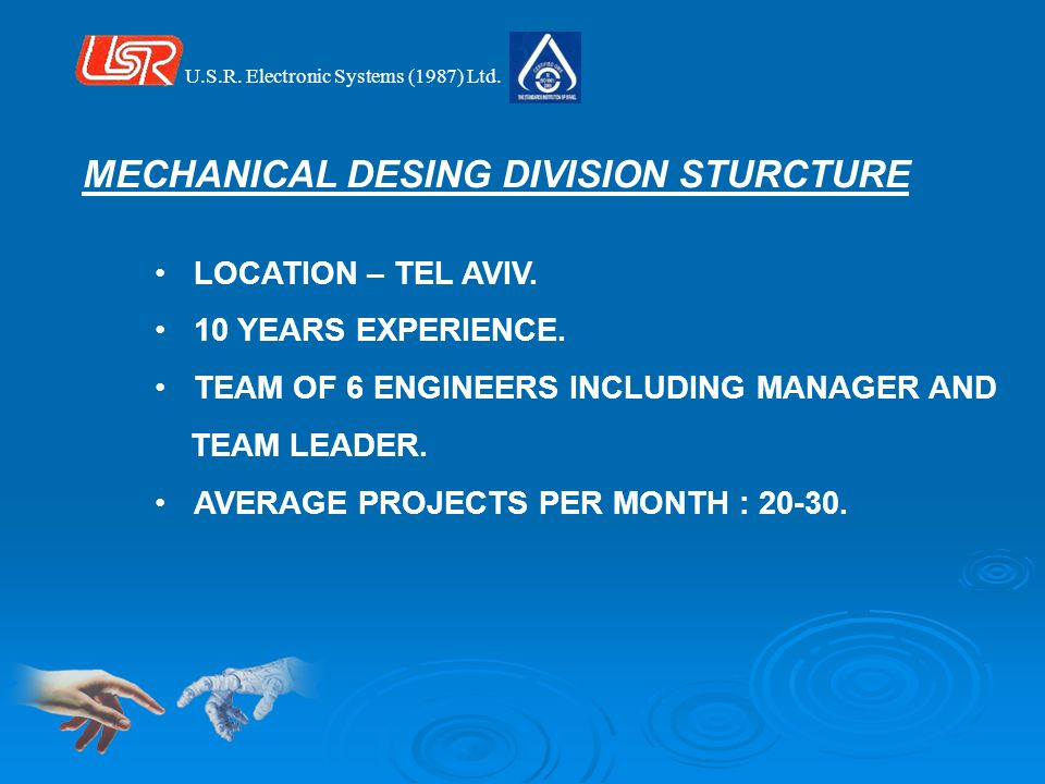 LOCATION – TEL AVIV. 10 YEARS EXPERIENCE. TEAM OF 6 ENGINEERS INCLUDING MANAGER AND TEAM LEADER.