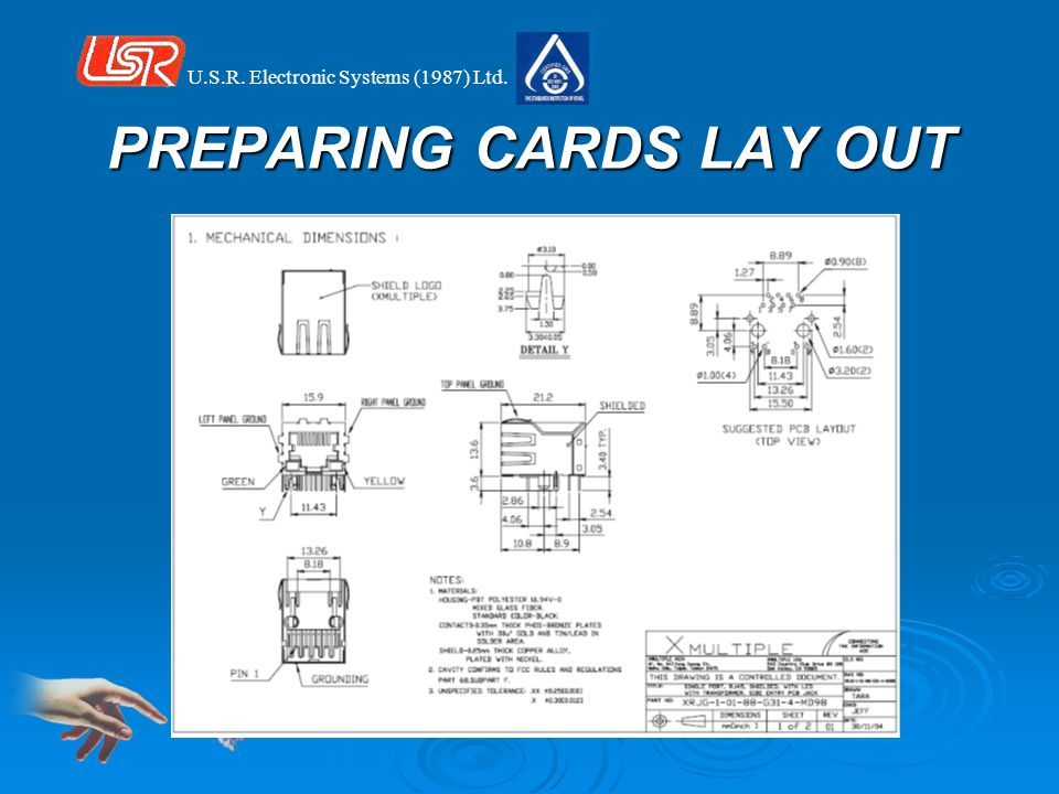 U.S.R. Electronic Systems (1987) Ltd. PREPARING CARDS LAY OUT