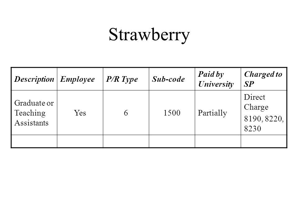 Strawberry DescriptionEmployeeP/R TypeSub-code Paid by University Charged to SP Graduate or Teaching Assistants Yes61500Partially Direct Charge 8190, 8220, 8230
