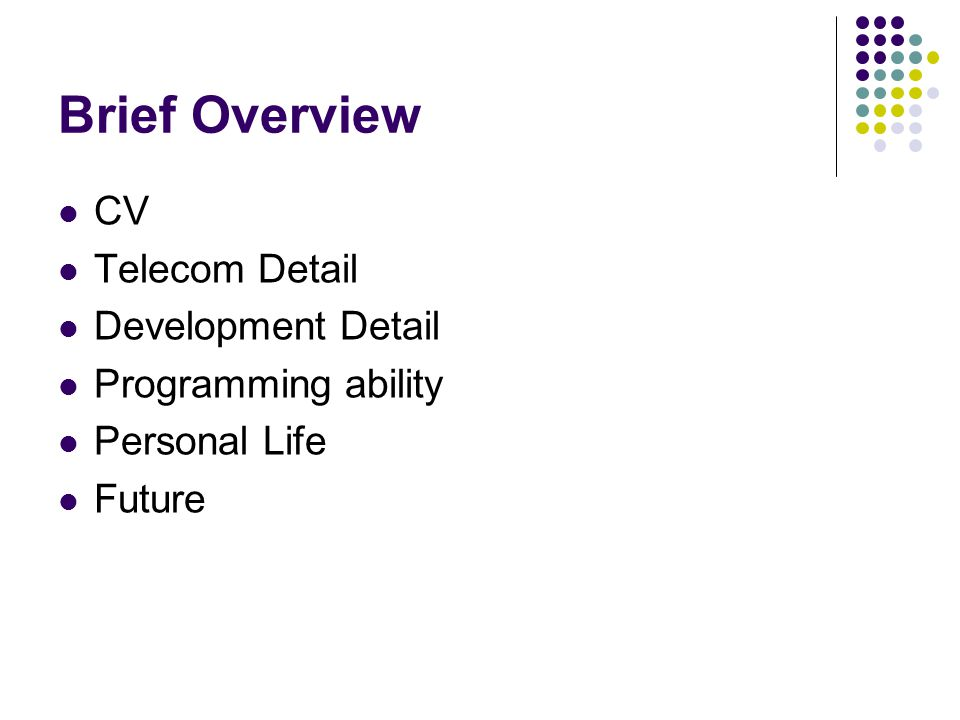 Brief Overview CV Telecom Detail Development Detail Programming ability Personal Life Future