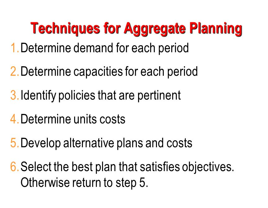 1.Determine demand for each period 2.Determine capacities for each period 3.Identify policies that are pertinent 4.Determine units costs 5.Develop alt