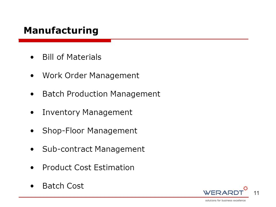 11 Bill of Materials Work Order Management Batch Production Management Inventory Management Shop-Floor Management Sub-contract Management Product Cost Estimation Batch Cost Manufacturing