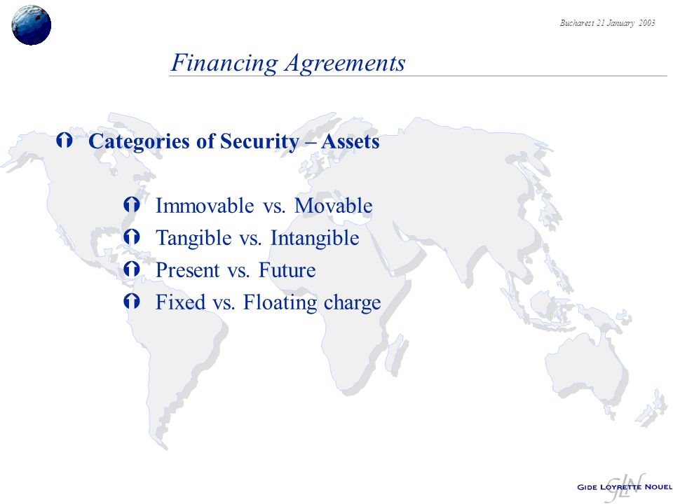 Bucharest 21 January 2003 Financing Agreements ÝCategories of Security – Assets ÝImmovable vs.