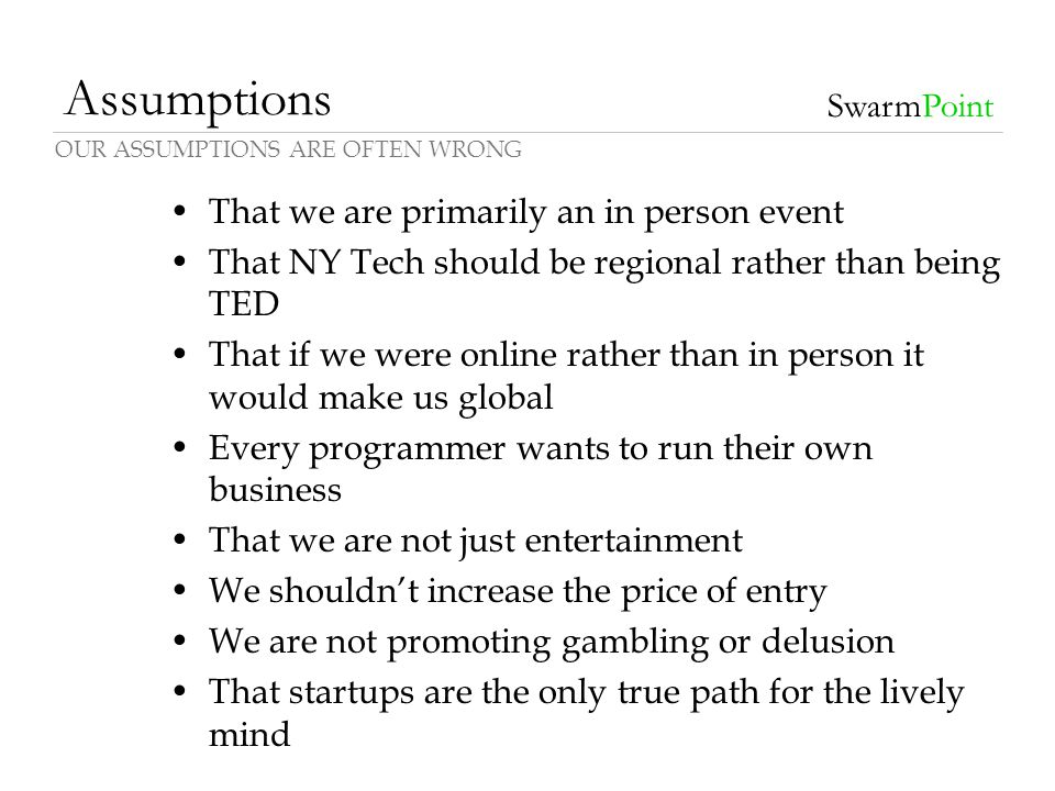 Assumptions That we are primarily an in person event That NY Tech should be regional rather than being TED That if we were online rather than in perso