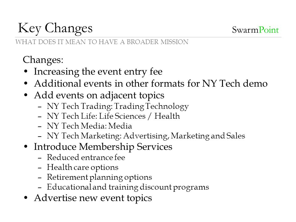 Key Changes Changes: Increasing the event entry fee Additional events in other formats for NY Tech demo Add events on adjacent topics –NY Tech Trading