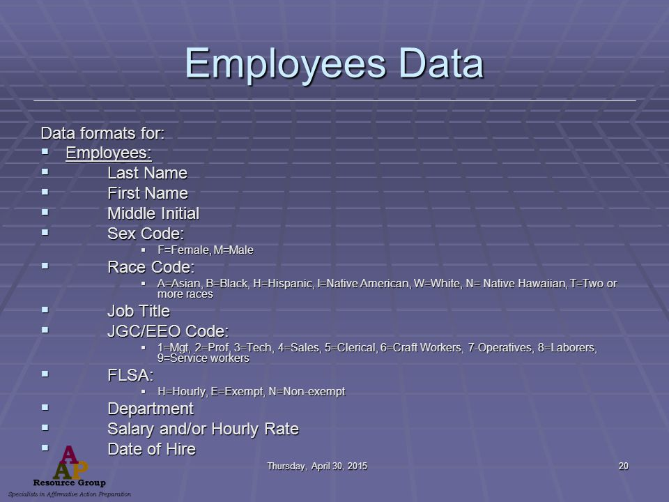 Thursday, April 30, 2015Thursday, April 30, 2015Thursday, April 30, 2015Thursday, April 30, 201520 Employees Data Data formats for:  Employees:  Last Name  First Name  Middle Initial  Sex Code:  F=Female, M=Male  Race Code:  A=Asian, B=Black, H=Hispanic, I=Native American, W=White, N= Native Hawaiian, T=Two or more races  Job Title  JGC/EEO Code:  1=Mgt, 2=Prof, 3=Tech, 4=Sales, 5=Clerical, 6=Craft Workers, 7-Operatives, 8=Laborers, 9=Service workers  FLSA:  H=Hourly, E=Exempt, N=Non-exempt  Department  Salary and/or Hourly Rate  Date of Hire