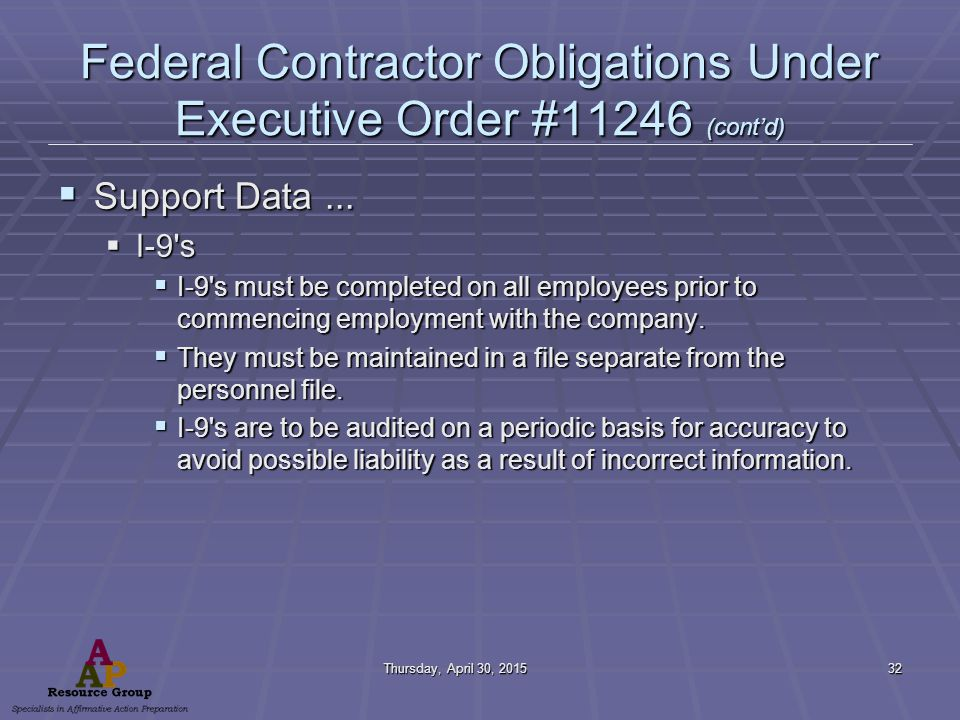 Thursday, April 30, 2015Thursday, April 30, 2015Thursday, April 30, 2015Thursday, April 30, 201532 Federal Contractor Obligations Under Executive Order #11246 (cont'd)  Support Data...