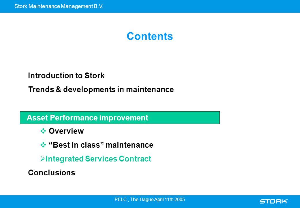 Stork Maintenance Management B.V. PELC, The Hague April 11th 2005 Introduction to Stork Trends & developments in maintenance Asset Performance Improve