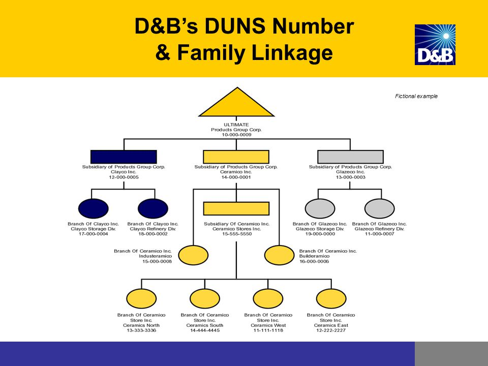 Fictional example D&B's DUNS Number & Family Linkage