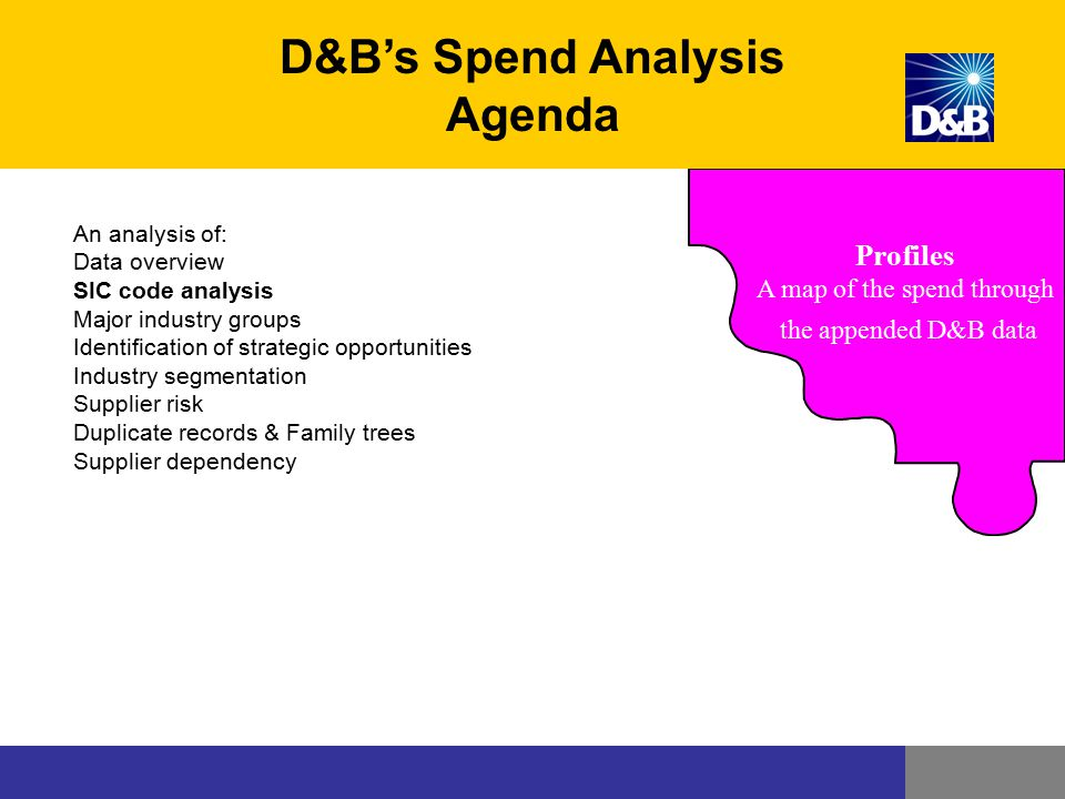 Profiles A map of the spend through the appended D&B data D&B's Spend Analysis Agenda An analysis of: Data overview SIC code analysis Major industry g
