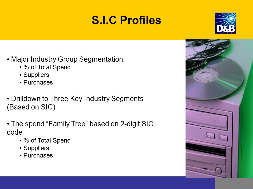 """Major Industry Group Segmentation % of Total Spend Suppliers Purchases Drilldown to Three Key Industry Segments (Based on SIC) The spend """"Family Tree"""""""