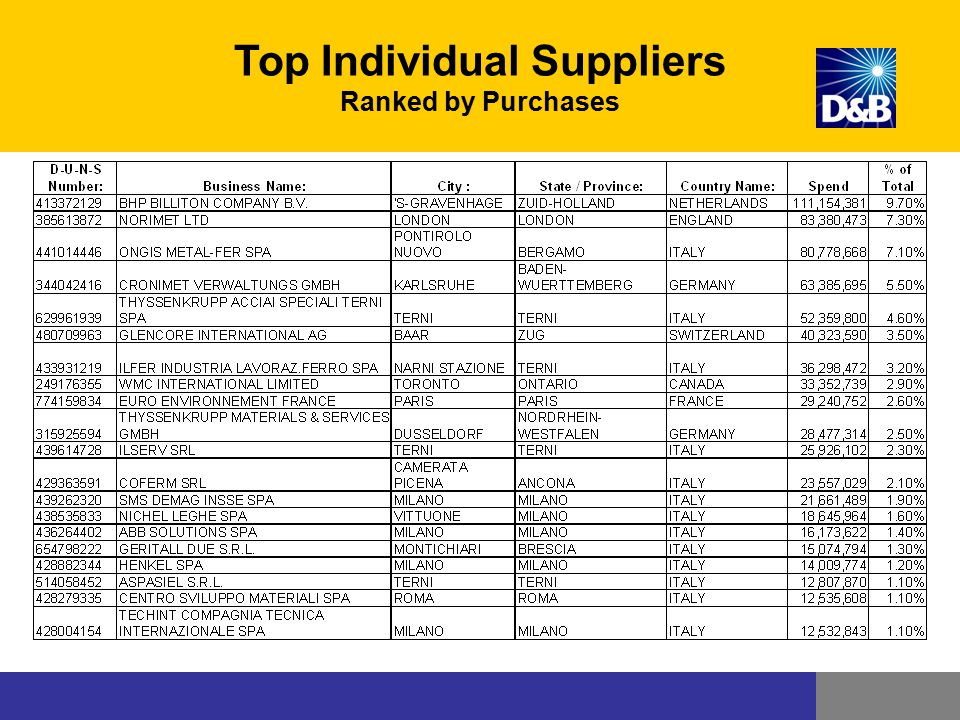Top Individual Suppliers Ranked by Purchases