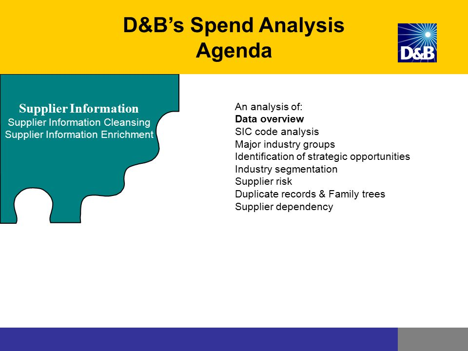 Supplier Information Supplier Information Cleansing Supplier Information Enrichment D&B's Spend Analysis Agenda An analysis of: Data overview SIC code