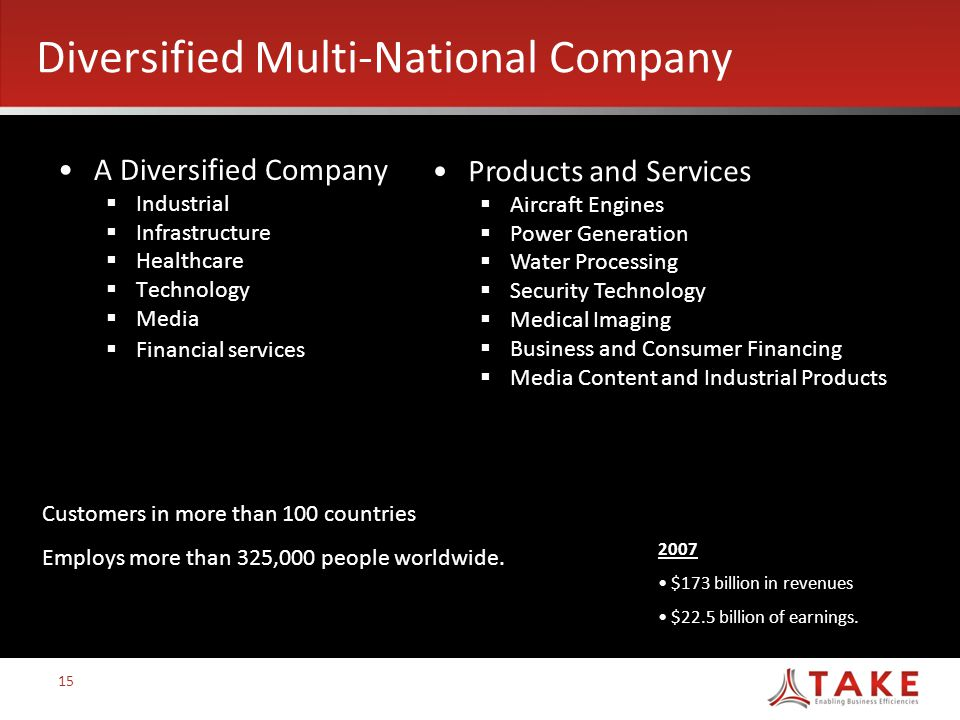 Diversified Multi-National Company A Diversified Company  Industrial  Infrastructure  Healthcare  Technology  Media  Financial services 2007 $173 billion in revenues $22.5 billion of earnings.