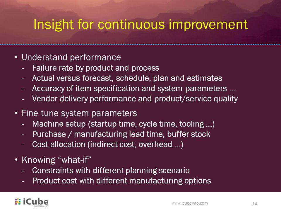 ck www.icubeinfo.com 14 Insight for continuous improvement Understand performance -Failure rate by product and process -Actual versus forecast, schedule, plan and estimates -Accuracy of item specification and system parameters … -Vendor delivery performance and product/service quality Knowing what-if -Constraints with different planning scenario -Product cost with different manufacturing options Fine tune system parameters -Machine setup (startup time, cycle time, tooling …) -Purchase / manufacturing lead time, buffer stock -Cost allocation (indirect cost, overhead …)