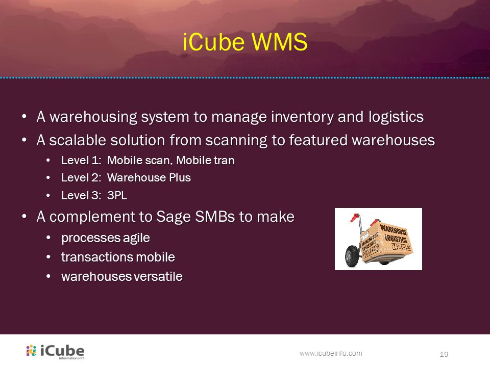 www.icubeinfo.com 19 iCube WMS A warehousing system to manage inventory and logistics A warehousing system to manage inventory and logistics A scalable solution from scanning to featured warehouses A scalable solution from scanning to featured warehouses Level 1: Mobile scan, Mobile tran Level 1: Mobile scan, Mobile tran Level 2: Warehouse Plus Level 2: Warehouse Plus Level 3: 3PL Level 3: 3PL A complement to Sage SMBs to make A complement to Sage SMBs to make processes agile processes agile transactions mobile transactions mobile warehouses versatile warehouses versatile