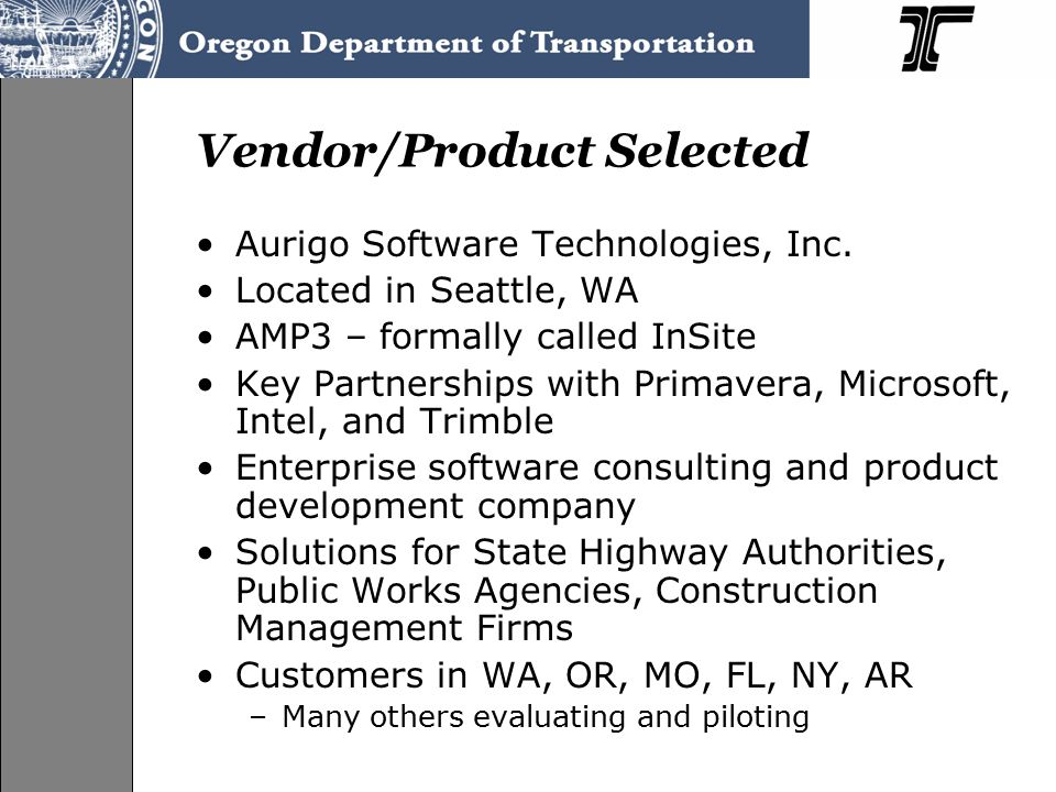 Vendor/Product Selected Aurigo Software Technologies, Inc.
