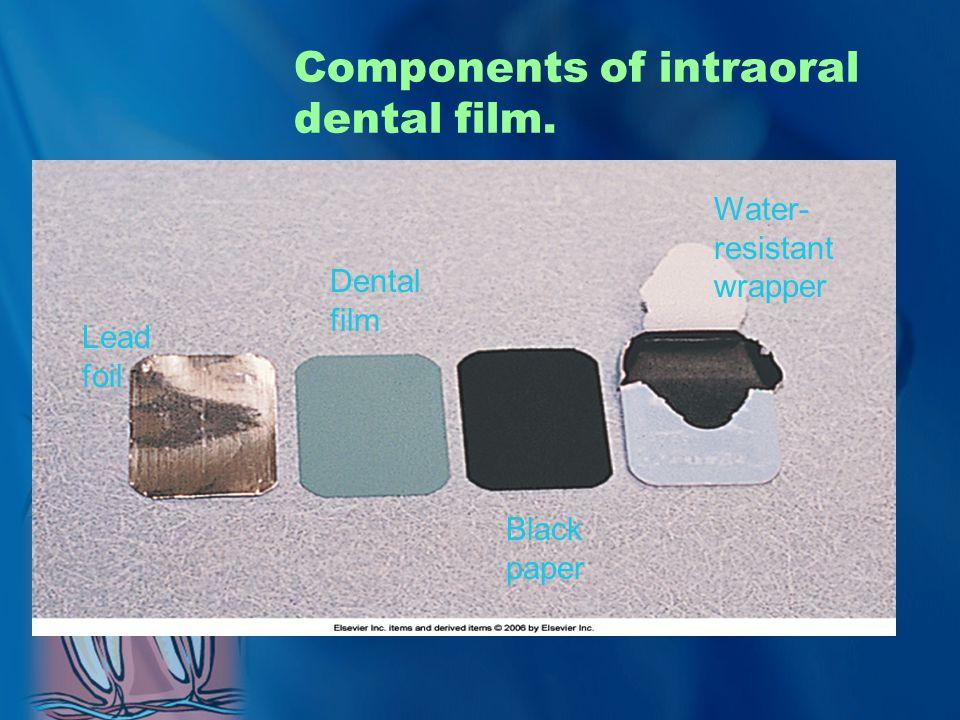 Components of intraoral dental film. Black paper Dental film Water- resistant wrapper Lead foil
