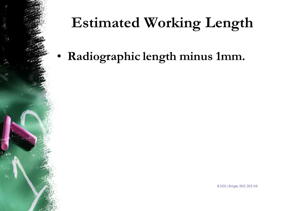 © 2006 J.Bringas, DMD, DDS, MS Final Working Length is determined to be -1 mm from the anatomical apex as measured from the working length (WL) radiograph.