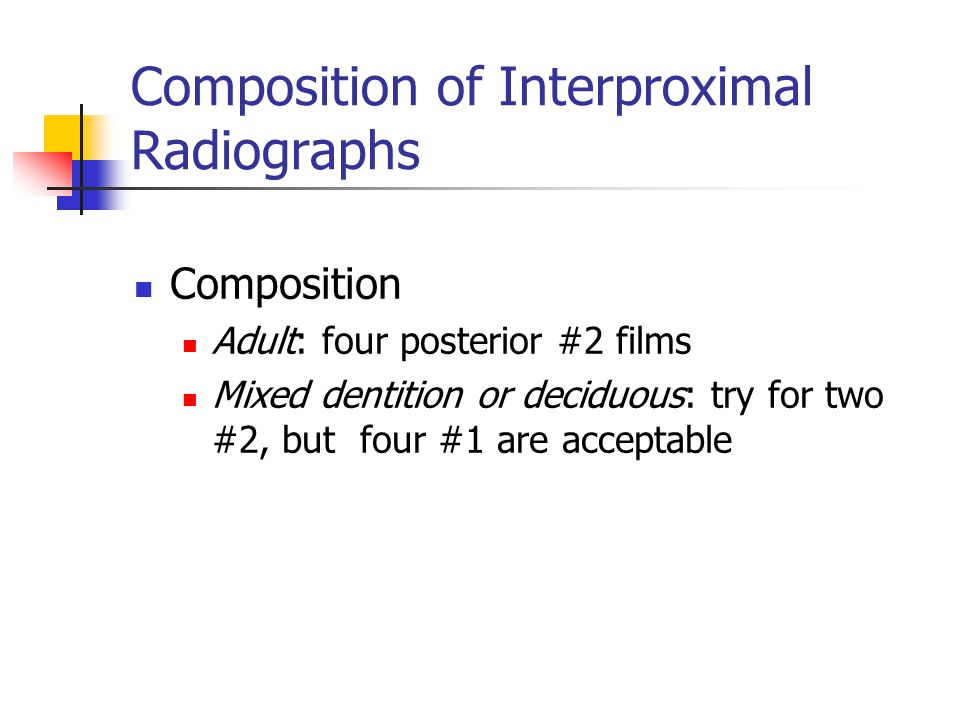 Composition of Interproximal Radiographs Composition Adult: four posterior #2 films Mixed dentition or deciduous: try for two #2, but four #1 are acce