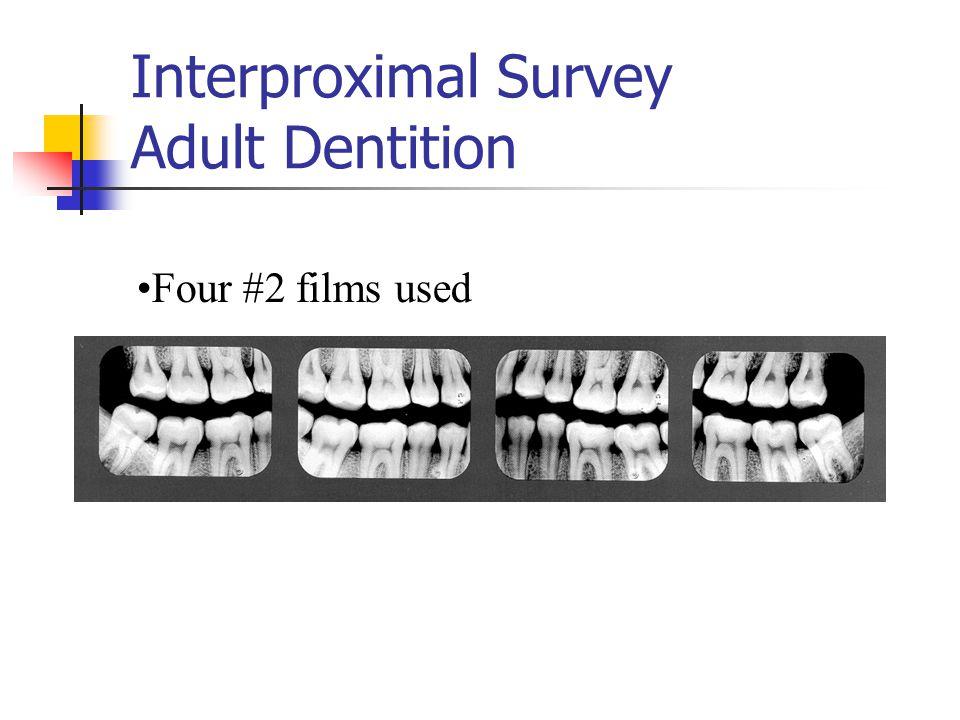 Interproximal Survey Adult Dentition Four #2 films used