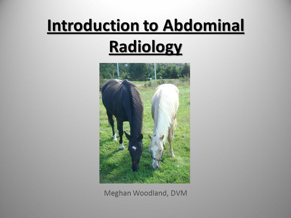 Introduction to Abdominal Radiology Meghan Woodland, DVM