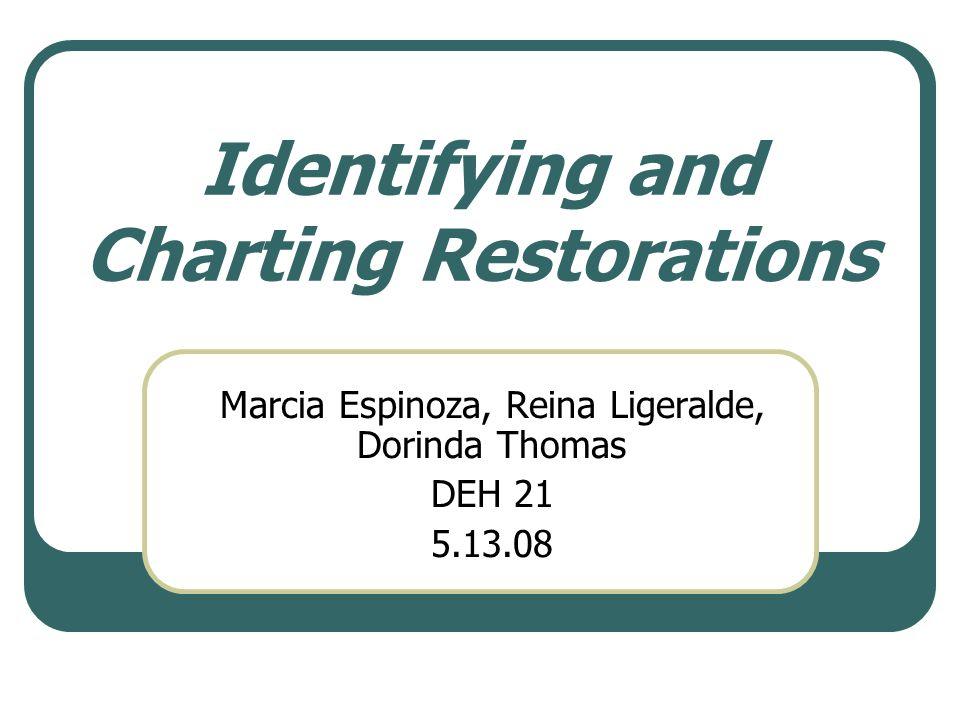 Identifying and Charting Restorations Marcia Espinoza, Reina Ligeralde, Dorinda Thomas DEH 21 5.13.08