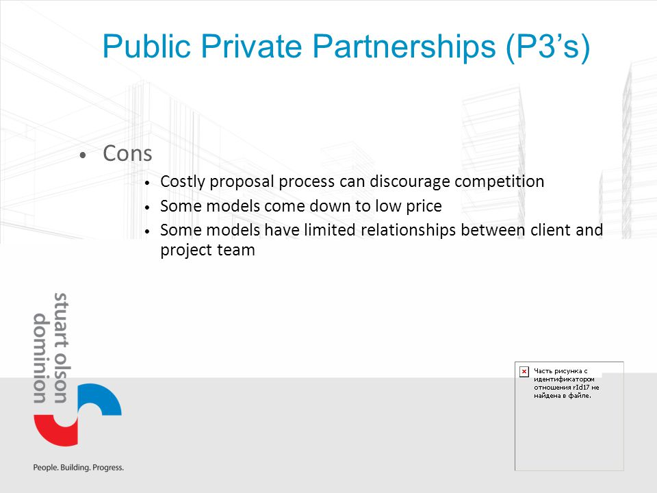 Cons Costly proposal process can discourage competition Some models come down to low price Some models have limited relationships between client and project team
