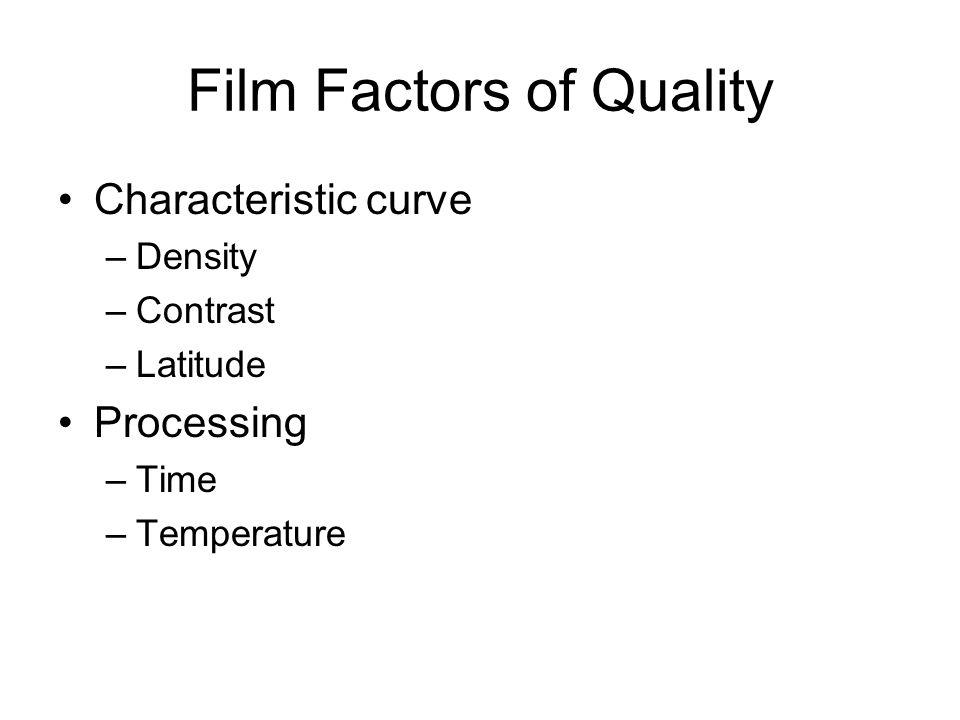 Film Factors of Quality Characteristic curve –Density –Contrast –Latitude Processing –Time –Temperature