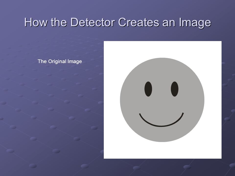 How the Detector Creates an Image The Original Image