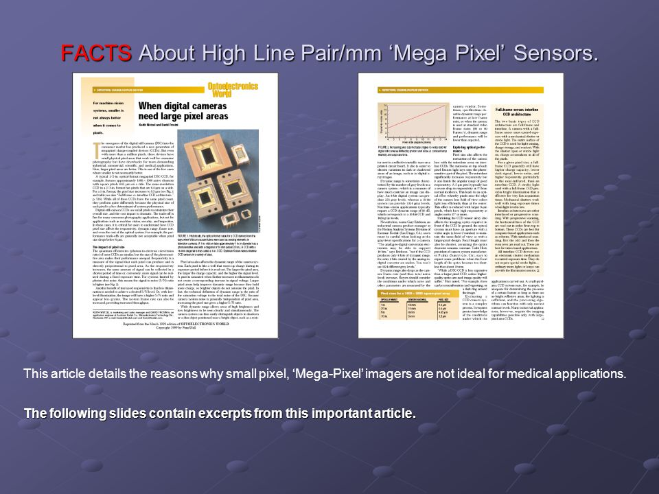 FACTS About High Line Pair/mm 'Mega Pixel' Sensors.